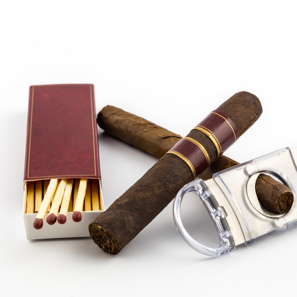 Cigar With Matches And Cutter Isolated